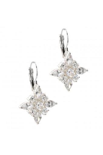 Topwholesalejewel Fashion Earring Silver Plating Square Cubic Zirconia Dangle Earrings