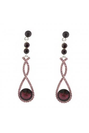 Fashion Earrings Rhodium Plating Amethyst Dangle Earrings