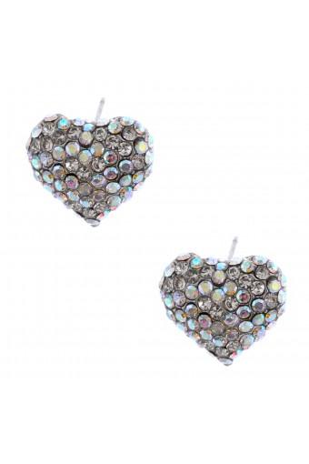 Fashion Earrings Silver Plating Aurora Borealis Heart Stud Earrings