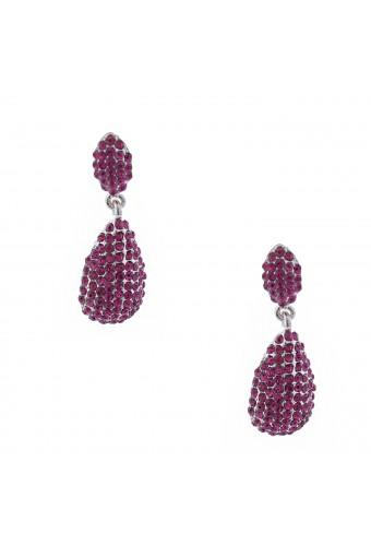 Wedding Earrings Rhodium Fuchsia Pear Shape Dangle Stud Earrings