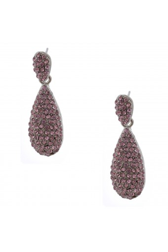 Wedding Earrings Rhodium Light Rose Pear Shape Dangle Stud Earrings