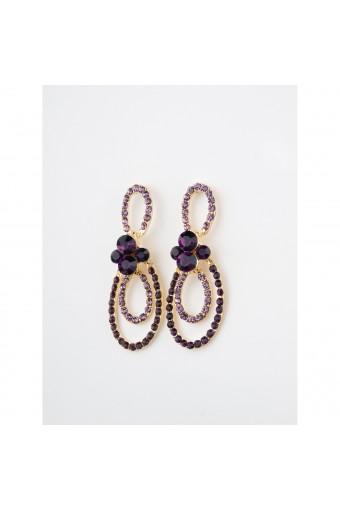 Gold Amethyst Chandelier Earring