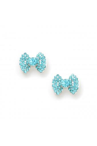 Silver Aqua Rhinestone Bow Shape with Rhinestone Center Stud Earrings