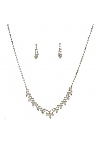 Fashion Jewelry Set Silver Crystal V Necklace Earrings Set