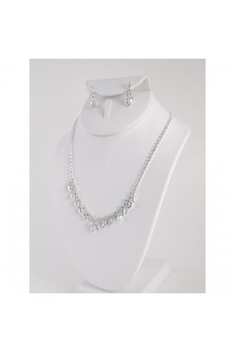 Silver Aurora Borealis V Necklace Set