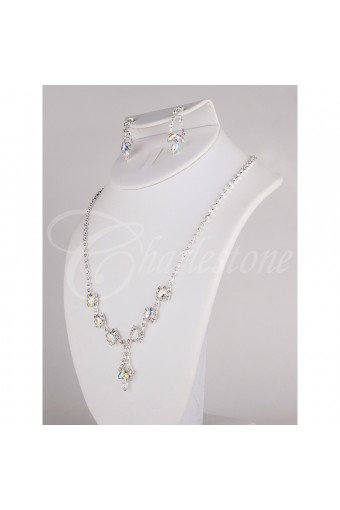 Silver Crystal Necklace Set