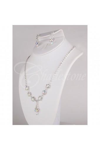 Silver Crystal Necklace Set