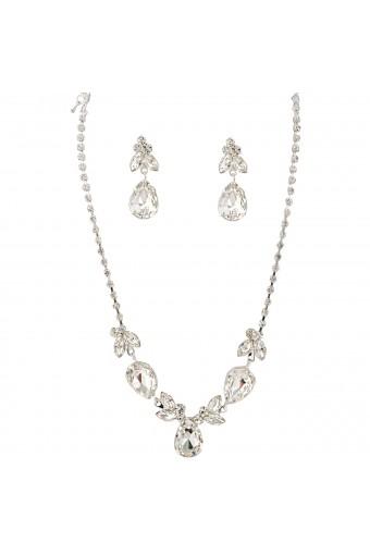 Fashion Jewelry Set Silver Crystal Teardrop Necklace Earrings Set