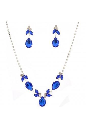 Wedding Jewelry Set Silver Sapphire Tear Drop Necklace Earrings Set
