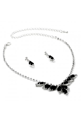 Silver Crystal Rhinestone V Necklace with Jet Teardrops and Matching Dangle Earrings Jewelry Set