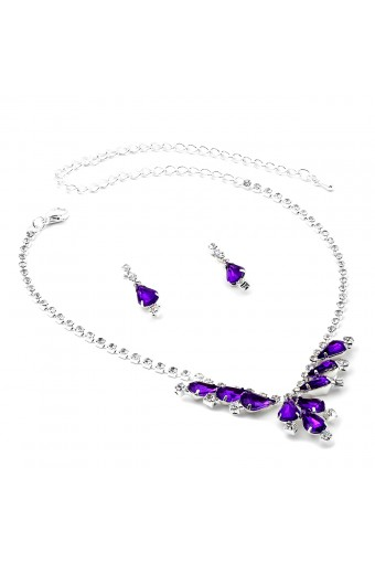 Silver Crystal Rhinestone V Necklace with Amethyst Teardrops and Matching Dangle Earrings Jewelry Set