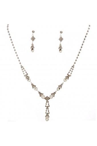 Wedding Jewelry Set Rhinestone Necklace Dagle Earrings Set