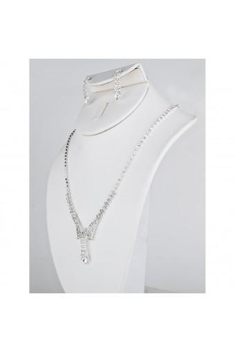 Silver Crystal V Neck Set