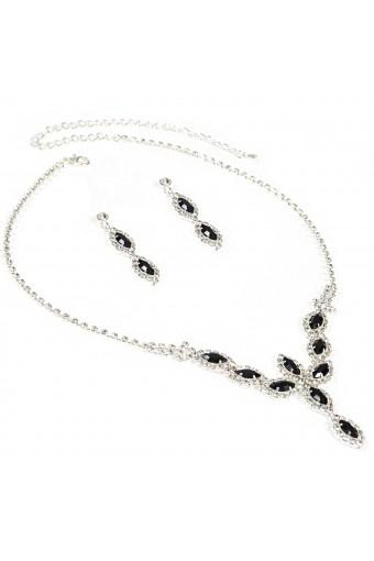 Topwholesalejewel Wedding Jewelry Silver Jet Oval Necklace Dangle Earring Jewelry Set