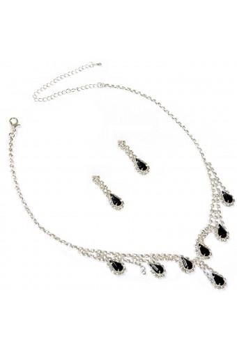 Wedding Jewelry Set Silver Jet Necklace Dangle Tear Drop Earring Set