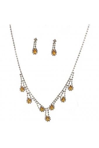 Wedding Jewelry Set Silver Light Colorado Topaz Necklace Dangle Tear Drop Earring Set