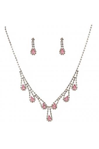 Wedding Jewelry Set Silver Light Rose Necklace Dangle Tear Drop Earring Set