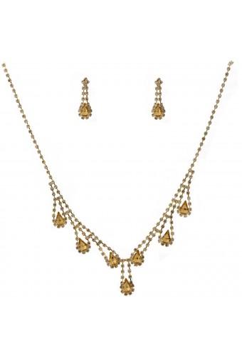 Wedding Jewelry Set Gold Light Colorado Topaz Necklace Dangle Tear Drop Earring Set