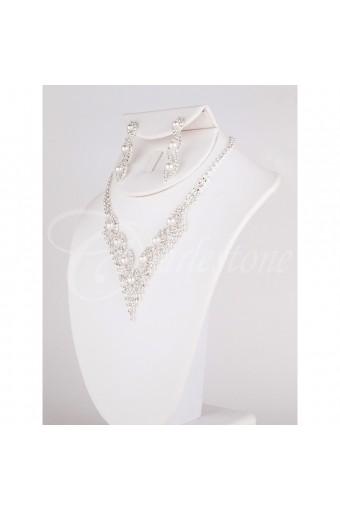 Silver White Pearl V Neck Set