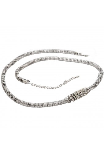 Womens Belt Snake Shape Pendant Metallic Waist Chain Belt Silver Tone 32 Inch
