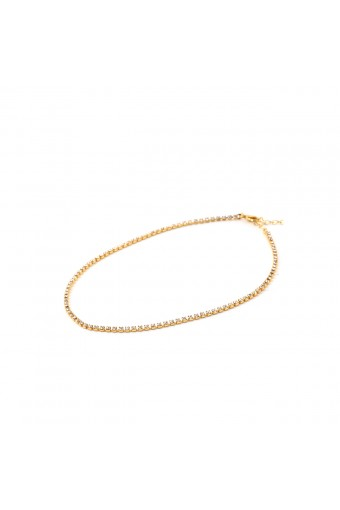Gold Crystal Rhinestone 1 Line Chain Choker