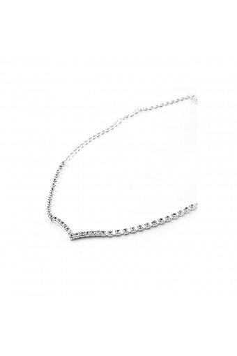 Silver Crystal Rhinestone 1 Line with V Shape Center Choker