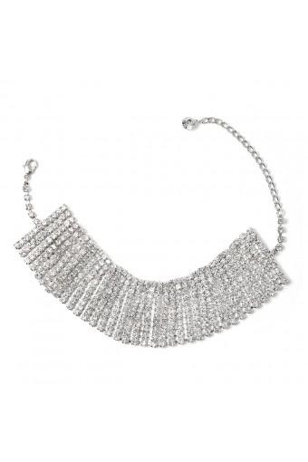 Silver Crystal Rhinestone 11 Line Stick Fan Shape Choker