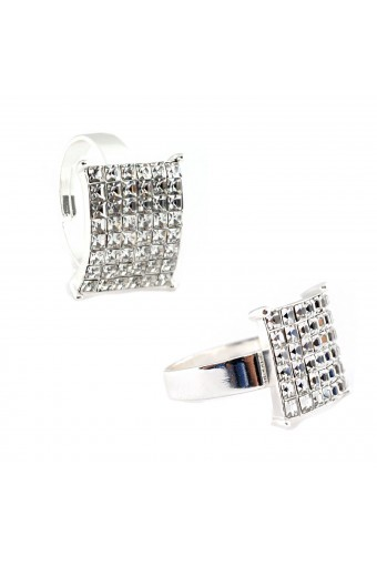 Square Cubic Zirconia Silver Adjustable Ring