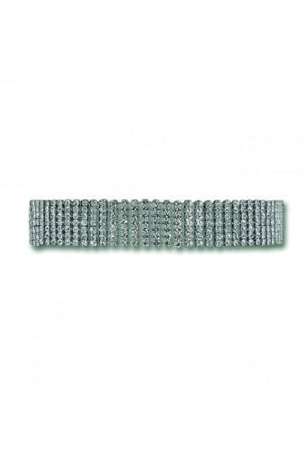 Silver Crystal Rhinestone 7 Line Flat Choker