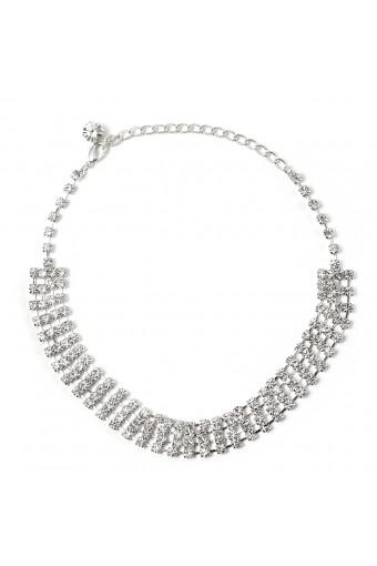 Silver Crystal Rhinestone 4 Line Stick Fan Shape Net Choker