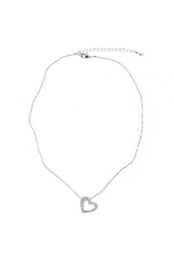 Silver Crystal Rhinestone Thin Line with Small Heart Shape Center Piece Chain Necklace