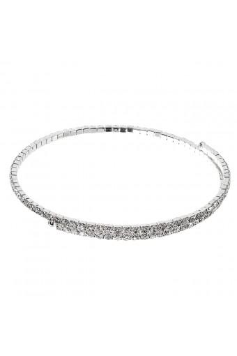 Silver Crystal Rhinestone 1 Line Spring Choker