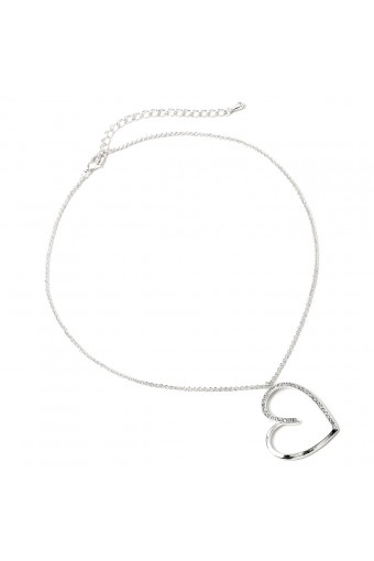 Silver Crystal Rhinestone Large Heart Shape Chain Necklace