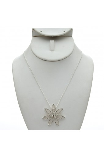 Silver Chain with a Crystal Rhinestone Flower Center Piece Necklace