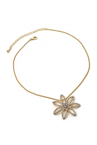 Gold Chain with a Crystal Rhinestone Flower Center Piece Necklace