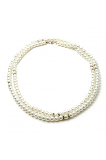 Silver 8mm White Pearl 1 Strand 48in Necklace