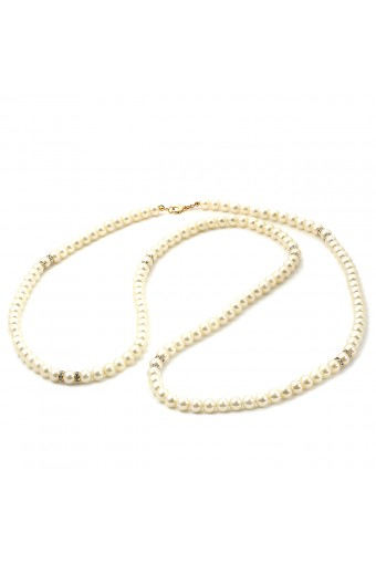 Gold 8mm Cream Pearl 1 Strand 48in Necklace