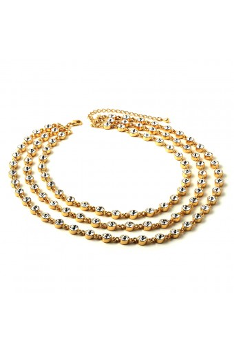 Gold 3 Line Links with Crystal Stones Necklace