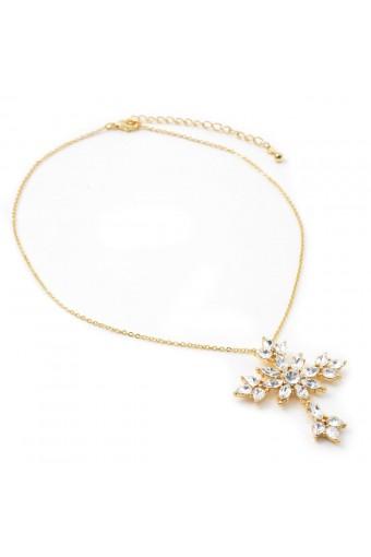 Gold Crystal Rhinestone Flower Shape Cross Dangle Necklace