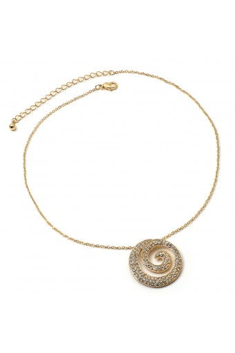 Gold Chain with a Crystal Rhinestone Spiral Center Piece Necklace