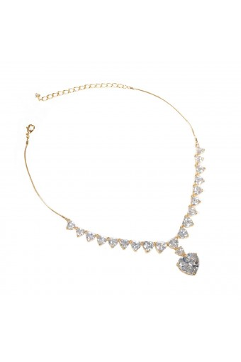 Gold Crystal Cubic Zirconia Hearts with a Large Dangle Heart Necklace