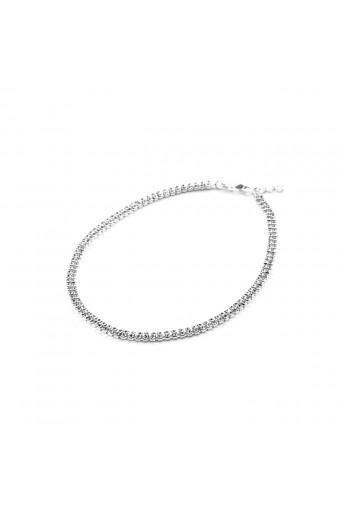 Silver Crystal Rhinestone 2 Line Choker