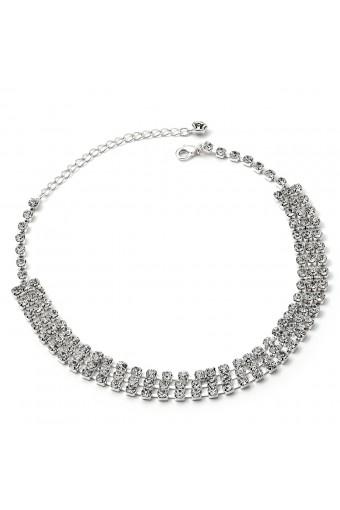 Silver Crystal Rhinestone Large 3 Line Choker