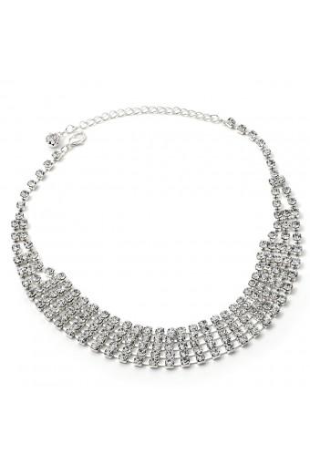 Silver Crystal Rhinestone Large 5 Line Choker