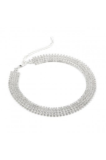 Silver Crystal Rhinestone 5 Line Choker