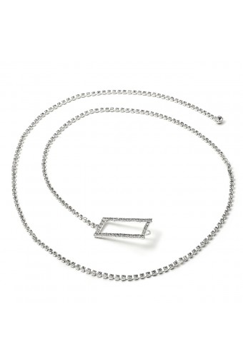 Silver Crystal Rhinestone Single Line Belt with Rectangle Buckle