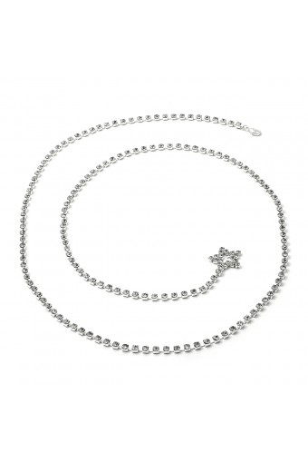 Silver Crystal Rhinestone Single Line Belt with a Star