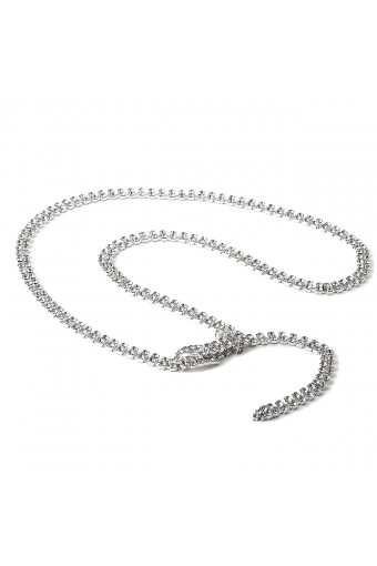 Silver Crystal Rhinestone Double Line Belt with Oval Buckle