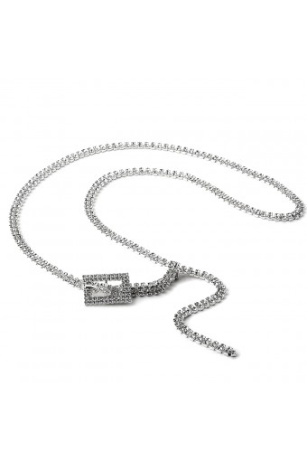 Silver Crystal Rhinestone Double Line Belt with Small Rectangle Buckle