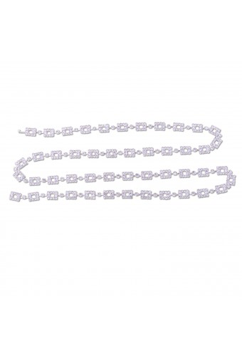 Silver Crystal Rhinestone Square Shape Belt